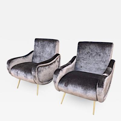 Marco Zanuso Pair Of 1950s Sculptural Italian Lounge Chairs