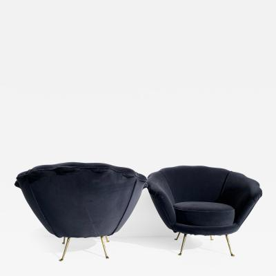 Marco Zanuso Pair Scalloped Back Velvet Lounge Chairs with Brass Legs