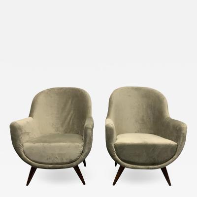 Marco Zanuso Pair of Gray Mid Century Modern Italian Style Lounge Chairs