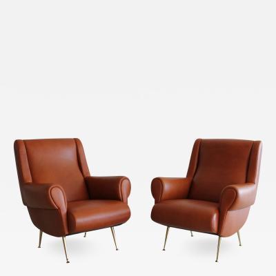 Marco Zanuso Pair of Italian Leather Club Chairs
