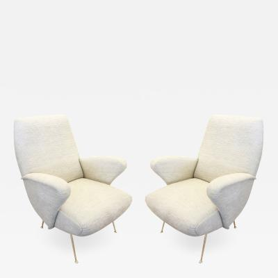 Marco Zanuso Pair of Italian Mid Century Armchairs in the Manner of Zanuso