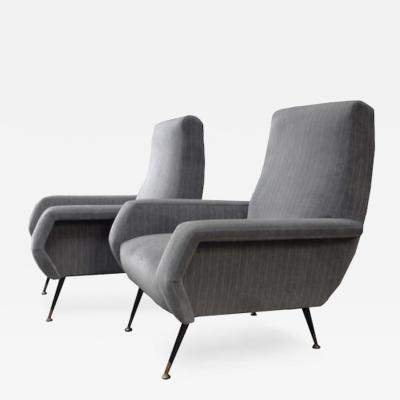Marco Zanuso Pair of Mid Century Club Chairs in the style of Marco Zanuso