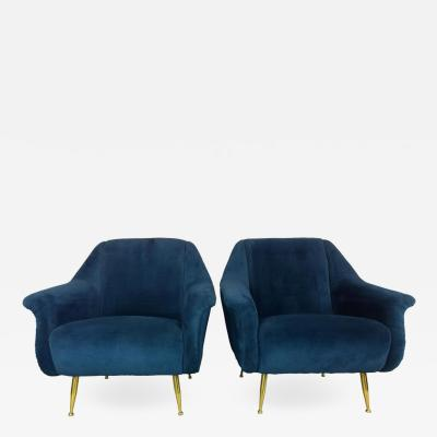 Marco Zanuso Pair of Mid Century Modern Italian Marco Zanuso Style Velvet and Brass Chairs