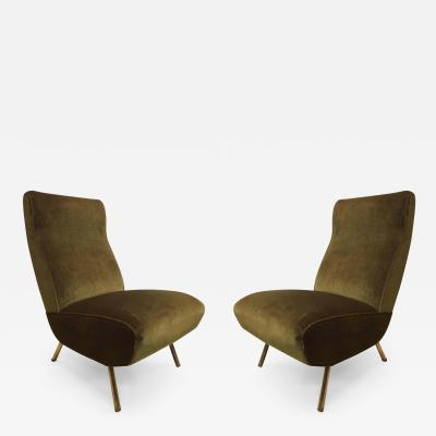 Marco Zanuso Rare Pair of Mid Century Modern Triennale Lounge Chairs Marco Zanuso Italy 1951