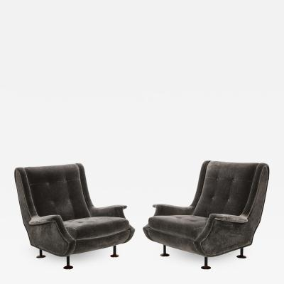Marco Zanuso Rare Pair of Regent Lounge Chairs by Marco Zanuso
