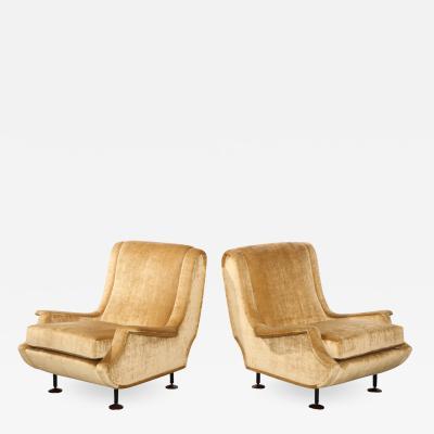 Marco Zanuso Rare Pair of Regent Lounge Chairs by Marco Zanuso