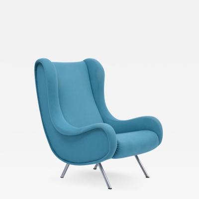 Marco Zanuso Reupholstered Blue Mid Century Modern Marco Zanuso Senior Lounge Chair