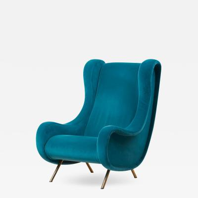 Marco Zanuso Senior Lounge Chair in Blue Velvet by Marco Zanuso for Arflex Italy 1955