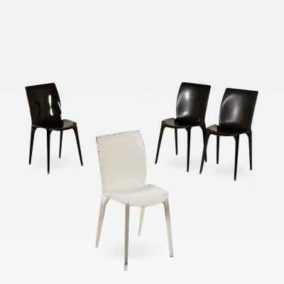 Marco Zanuso Set of Four Chairs by Marco Zanuso Metal Sheet Vintage Italy 1960s