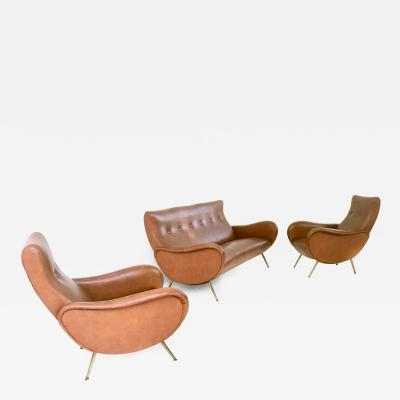 Marco Zanuso Skai Livingroom Set by Marco Zanuso Italy 1950s