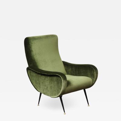 Marco Zanuso Vintage Armchair in the Style of Marco Zanuso in Green Velvet