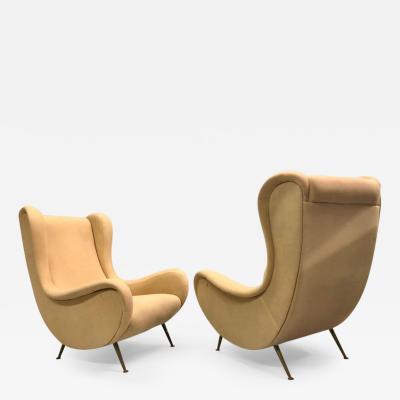 Marco Zanuso Vintage Pair of Italian Senior Chairs Lounge Chairs by Marco Zanuso Arflex