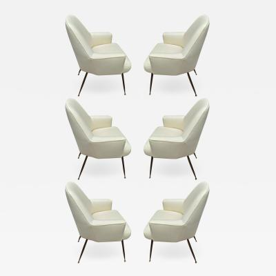 Marco Zanuso Zanuso rare set of 6 dinning chairs newly covered