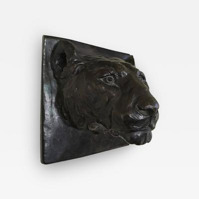 Margaret H Wiechmann Solid Bronze Wall Sculpture of Panther by Margaret H Wiechmann and Gorham Co