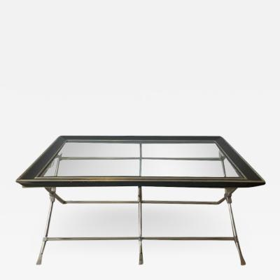 Marge Carson MODERN NEOCLASSICAL BRUSHED NICKEL AND BRASS TRIPLE X BASE COFFEE TABLE