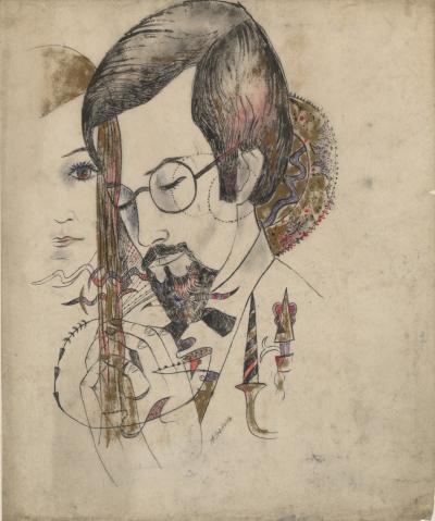 Marguerite Akarova Akarova Marguerite 1904 1999 Portrait of a Man and a Woman Drawing on Paper