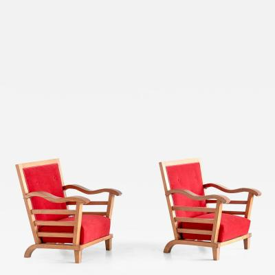 Marguerite Dubuisson Important Pair of Armchairs by Marguerite Dubuisson France 1947