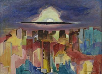 Marguerite T Zorach Moon over Brooklyn