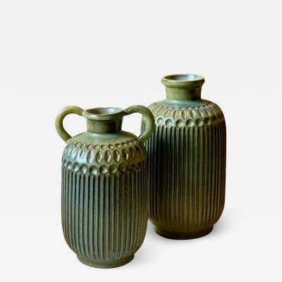 Mari Simmulsson Duo of Carved Vases by Mari Simmulson for Upsala Ekeby