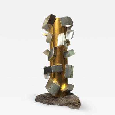 Maria Giansante Gilt White Gold Cubist Sculpture