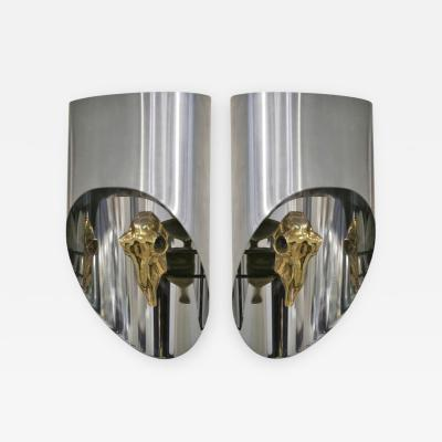 Maria Pergay Lampe Totem Pair of Gilt Bronze Sconces