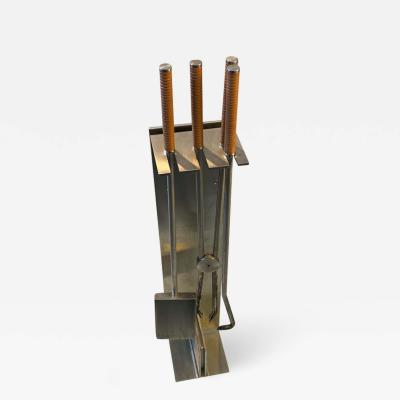 Maria Pergay MODERNIST STAINLESS STEEL FIRE TOOLS IN THE MANNER OF MARIA PERGAY