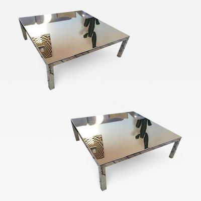 Maria Pergay Maria Pergay pair of polished steel square coffee table or side tables