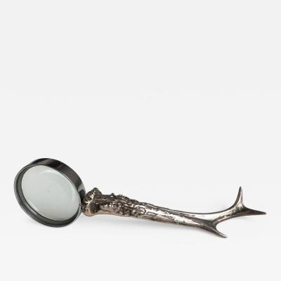 Maria Pergay Mid century Maria Pergay silvered bronze antler magnifying glass