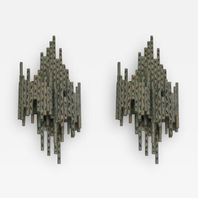 Maria Pergay Pair of French Mid Century Modern Perforated Iron Sconces Attr Maria Pergay