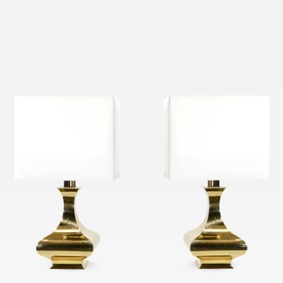 Maria Pergay Pair of Maria Pergay brass table lamps 1970 s
