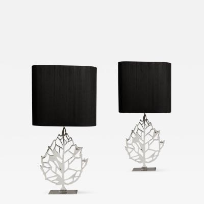 Maria Pergay Pair of Silver Plated Leaf Table Lamps