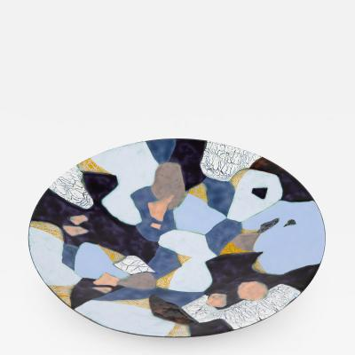 Maria Viktor Abstract enamel on copper dish by Maria Viktor circa 1950s