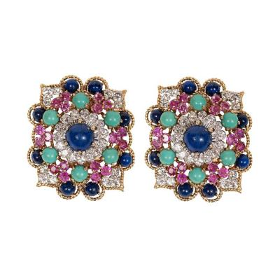 Marianne Ostier Marianne Ostier Colored Stone Diamond Gold Platinum Earclips