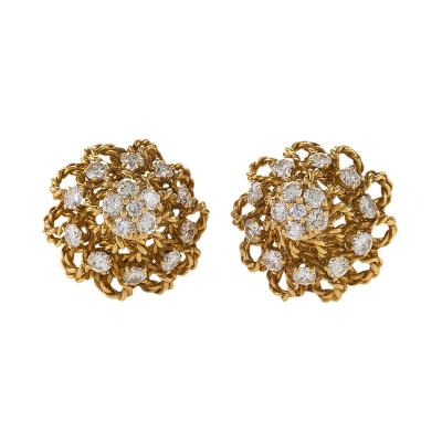Marianne Ostier Marianne Ostier Mid 20th Century Diamond and Gold Earrings