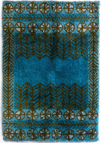 Marianne Richter SWEDISH BLUE AND BROWN WOOL RYA RUG 1960 Attributed to Marianne Richter