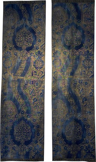 Mariano Fortuny 1920s pair of block printed cotton twill panels by Fortuny Venice Italy
