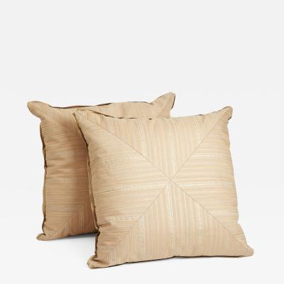 Mariano Fortuny A Pair of Mitered Fortuny Fabric Cushions in the Malmaison Pattern