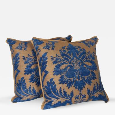 Mariano Fortuny A Pair of Vintage Fortuny Fabric Cushions in the Glicine Pattern