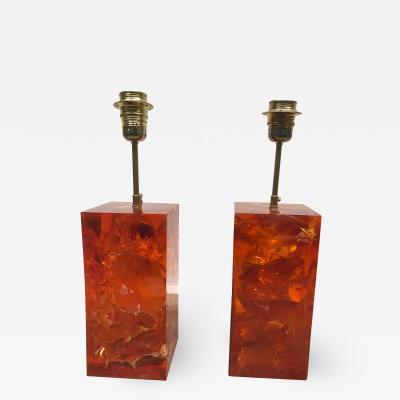 Marie Claude Fouquieres Marie Claude de Fouquieres Pair of Fractal Resin Lamps