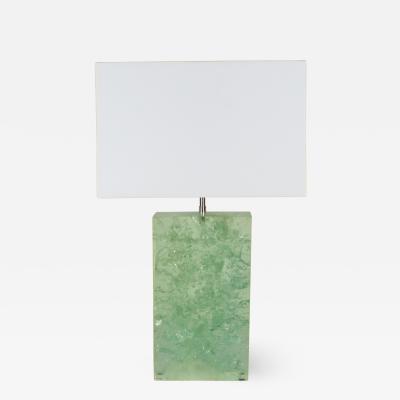 Marie Claude Fouquieres Marie Claude de Fouquieres rectangular green resin crackled table lamp