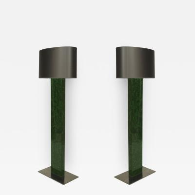 Marie Claude Fouquieres Pair of Important Rare Fractal Emerald Green Resin Floor Lamps