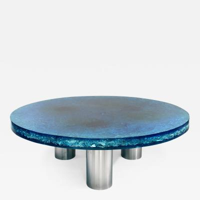 Marie Claude Fouquieres Rare Coffee Table in blue fractal resin