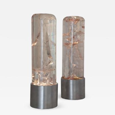 Marie Claude Fouquieres Rare Pair of Fractal Resin Sculptural Lamps