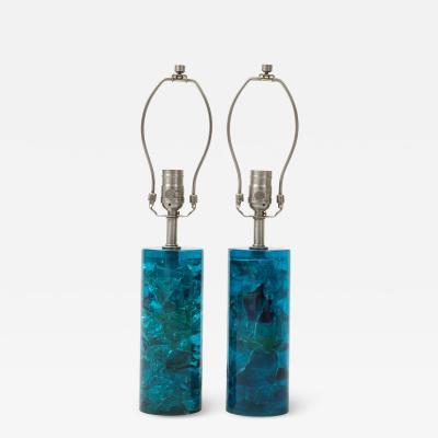 Marie Claude Fouquieres Turquoise Fractal Resin Lamps Marie Claude Fouquieres