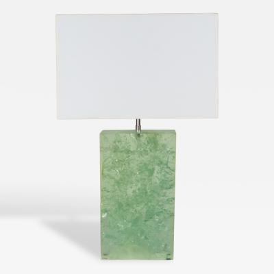 Marie Claude de Fouquieres Rectangular Green Resin Crackled Table Lamp