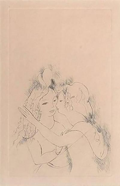 Marie Laurencin Marie Laurencin Etching Titled Two Girls Kissing