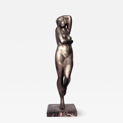 Marie Louise Simard French Art Deco Bronze Figure of Nude Female Dancer