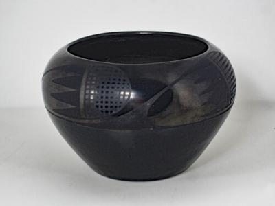 Marie Martinez San Ildefonso black on black jar by Marie Martinez
