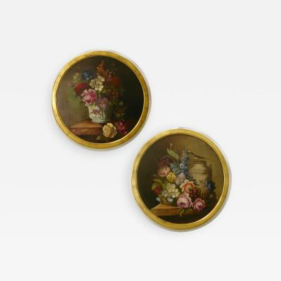 Marie Mathilde Duplat de Monticourt 1880 French Provincial Pair of Round Still Life Oil Paintings in Gilt Frames