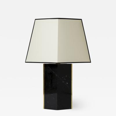 Marine Black Marble and Brass Table Lamp by Dorian Caffot de Fawes
